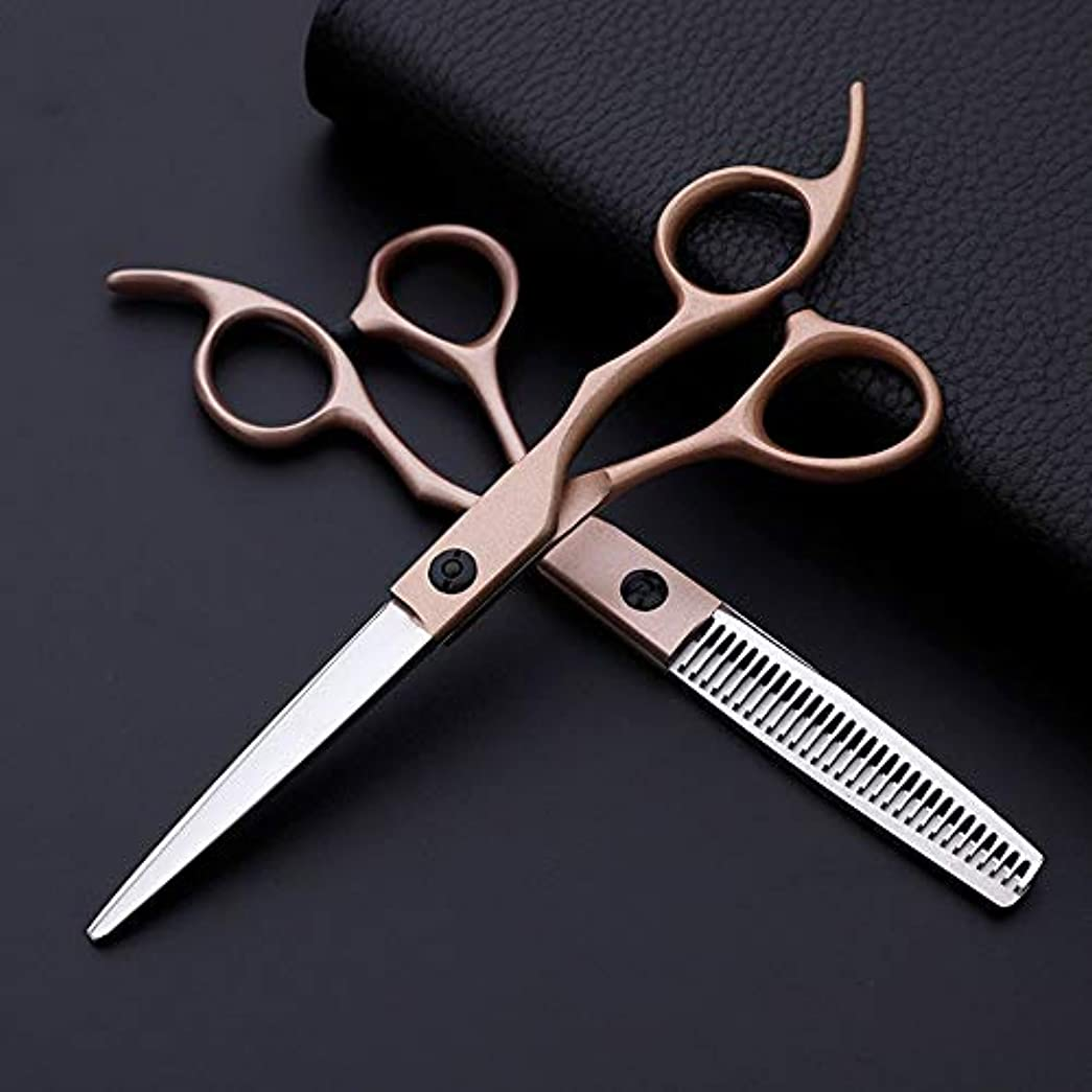 TAKAYAMA 6インチ美容院プロの理髪セット、クラシック斜めハンドルローズゴールドフラットカット+歯ハサミ (色 : Rose gold)