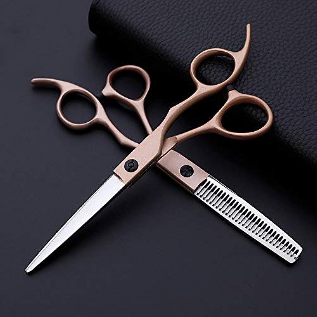 スタッフ無数のゴミ箱TAKAYAMA 6インチ美容院プロの理髪セット、クラシック斜めハンドルローズゴールドフラットカット+歯ハサミ (色 : Rose gold)