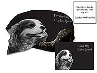 """45""""x 31""""キャバリアキングチャールズスパニッシュデザイン犬犬保護ブランケット/スローペットシートセーバー(黒)"""