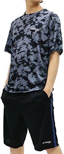 Kaepa(ケイパ) ランニングウェア 上下セット セットアップ ドライ 総柄 スポーツシャツ ジャージ ショートパンツ セット メンズ ブラック LL