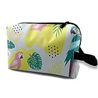 熱帯 オオハシ インコ フラミンゴ 化粧バッグ 収納袋 女大容量 化粧品クラッチバッグ 収納 軽量 ウィンドジップ