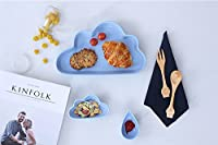 キッズお皿 3個入り プレート 陶器 キッチン食器 フルーツサラダ 北欧 インテリア小物 写真撮影用 パーティー 新生活 引越祝い 誕生日 (ブルー)
