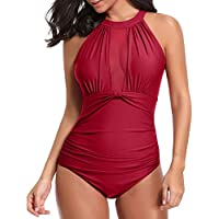 Tempt Me Women One Piece Swimsuit High Neck V Neckline Mesh Ruched Monokini Swimwear