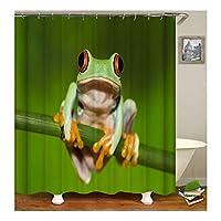 Aooaz 遮光 シャワー カーテン お風呂の窓用 シャワーカーテン 幅*高さ:150X180CM カエル 多色 シャワーカーテン リング付属 取付簡単