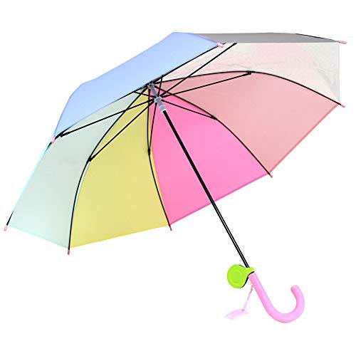 c4913d1ceaacb 子供傘 53cm キッズ傘 女の子 男の子 手開き 長傘 リフレクター付き レインボー 虹色 に