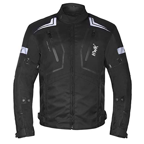 Motorcycle Jacket For Men Textile Motorbike Dualsport Enduro Motocross Racing Biker Riding CE Armored Waterproof All-Weather Medium All-black