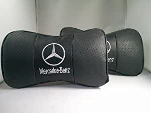 メルセデス ベンツ エンブレム レザーネックパッド 2個セット 黒 MercedesBenz 汎用品 【並行輸入品】