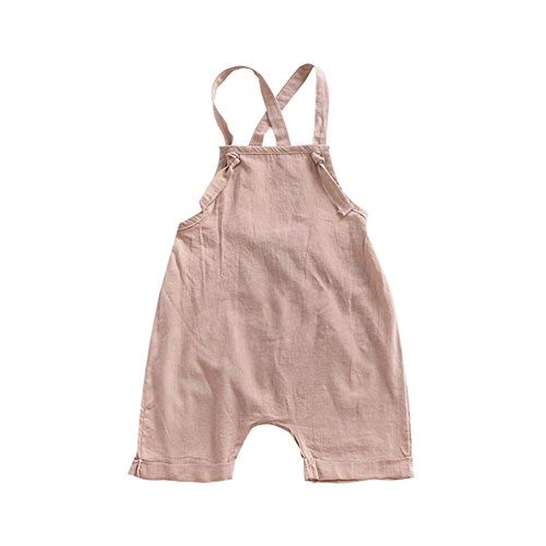 lijietian ベビー服 ロンパース 男の子 女の子 新生児サイズ 夏 無地 シンプル 袖なし サロペット ボディスーツ 赤ちゃん 可愛い (90)90