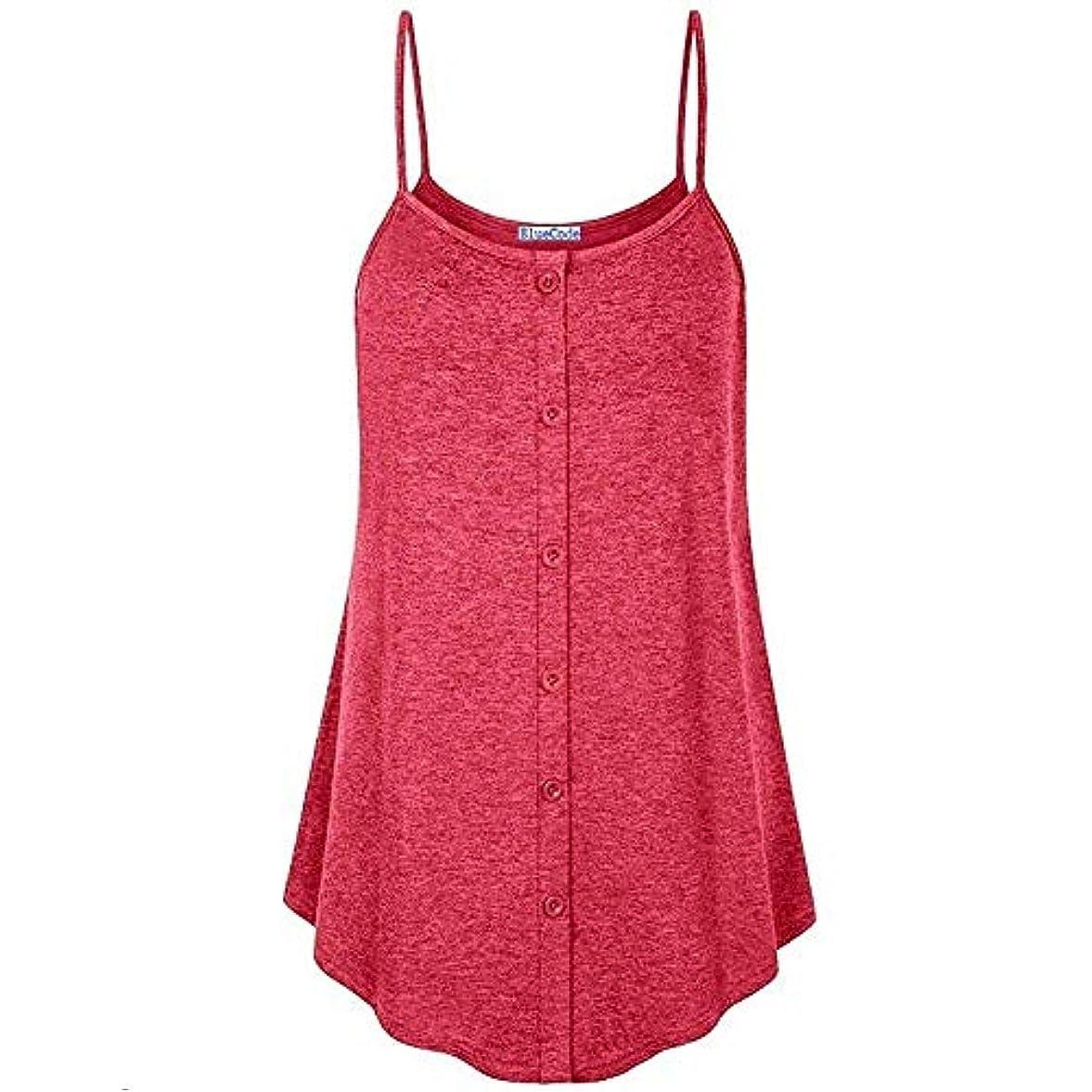 現代のコメント第四MIFANコットンTシャツソリッドカラースリングシャツビーチウェアOネックボタンステッチキャミソールタンクトップ