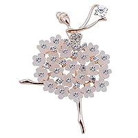 Ruikey  新しい ファッション  ブローチ 水晶 デザイン キラキラ 可愛い おしゃれ アクセサリー ジュエリー 女の子 花 プレゼント 贈り物