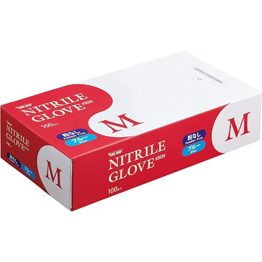 均等にシャットチョーク川西工業 ニトリル手袋#2039 粉無 M 青 100枚×20箱