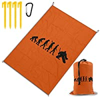 進化ホッケーのゴールキーパー レジャー旅行シートピクニックマット防水145×200センチ折りたたみキャンプマット毛布オーニングテントライトと収納が簡単ポータブル巾着