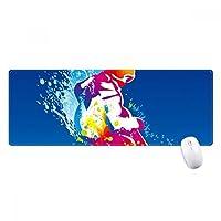 ウィンタースポーツはスキーのカラフルなイラスト ノンスリップゴムパッドのゲームマウスパッドプレゼント