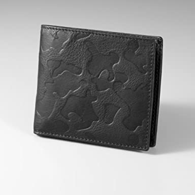 Camouflage Leather Wallet: Black