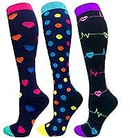 3/6 Pairs Compression Socks Women Men Funny Socks-Best for Running,Cycling,Sports,Nurse,Warm-20-25mmHg