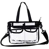 Clear Tote Bag Travel Handbag Women - Lady PVC Shoulder Bags Messenger Crossbody Bag Waterproof Cosmetic Bag for Beach Gym Swimming Shopping Pinic Casual