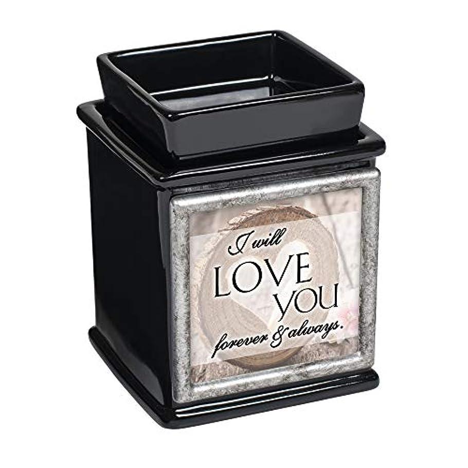 仕様傾向があります寝室Elanze Designs I Will Love You Forever Always 光沢ブラック交換可能プリントキャンドルワックスオイルウォーマー