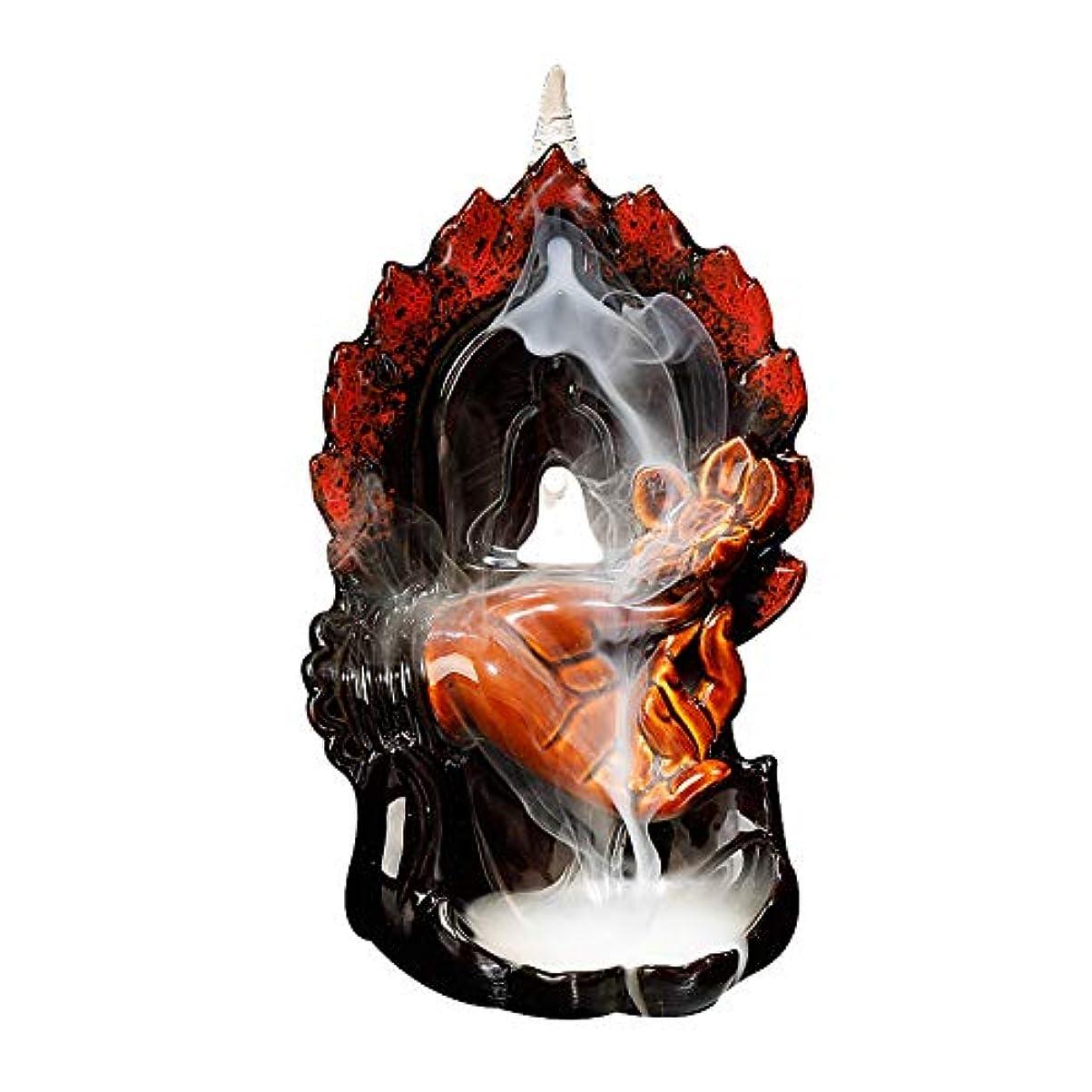 独創的フォアタイプ常習者逆流香バーナー、ホームオフィス手芸装飾用10個の逆流香コーン付きホームセラミック逆流香コーンホルダーバーナー