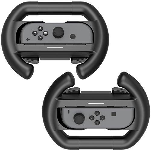 スイッチ ジョイコンハンドルSwitch専用 Joy-Conハンドル 2個 素早く反応 装着簡単 任天堂 Nintendo コントローラー グリップYOSH® 丸型 ブラック