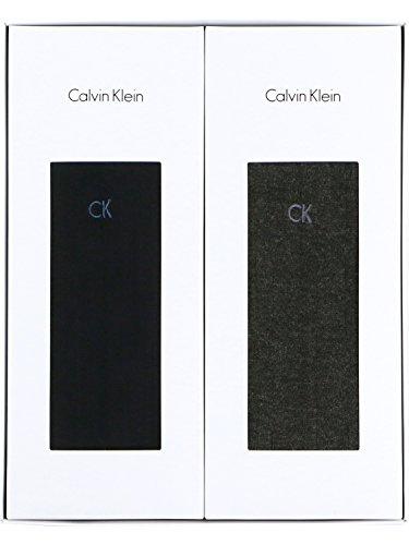 (カルバンクライン)Calvin Klein ビジネス ロゴ刺繍 リブ クルーソックス 2足組ギフトセット