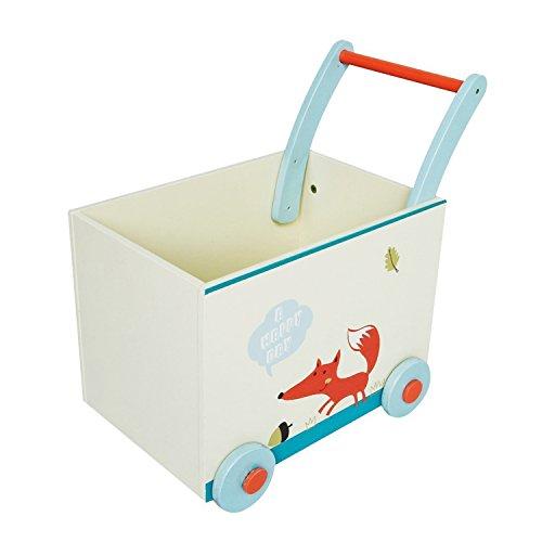 Labebe 子供用ウッドウォーカー プッシュ&プル手押し車おもちゃ ワゴントイ カタカタ - ホワイトフォックス