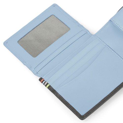 (ポールスミス) Paul Smith コントラストインサイド 小銭入れ付き 二つ折り財布 ブラック×ブルー [並行輸入品]