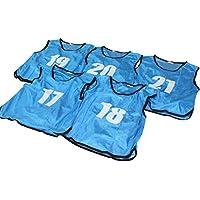 ビブス ゼッケン 17-21番 5枚セット 3サイズ 全11色 【 フットサル サッカー バスケ イベント等 】 2セット(10枚以上)以上ご注文で収納袋付き