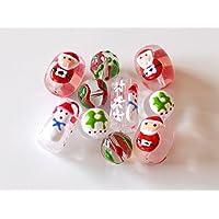 usausaのお店 クリスマスの模様入りガラスビーズ クリア10個セット(約11mm~20mm) サンタクロース・スノーマン・ツリー・花他/とんぼ玉 (B468)