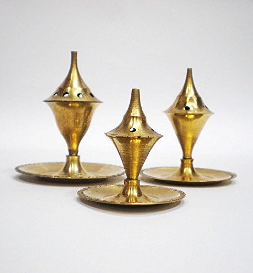 ハイライト開いた水平Incense Holder - Brass