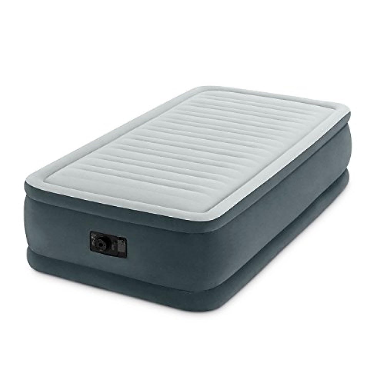 Intex コンセントでも膨らむ エアーベッド 電動ポンプ内蔵 レジャー 非常時 持ち運び 折りたたみベッド