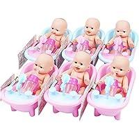 お人形セット 風呂の人形 子供 女の子の贈り物 シミュレーション赤ちゃん 脂肪少年の人形 ミニプラスチック 人形 おふろセット 6個 お風呂プール 入浴プール プラスチック 3歳以上