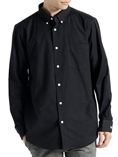 (モノマート) MONO-MART ハイストレッチ L/S オックスフォード シャツ バンドカラー ボタンダウン オックスシャツ メンズ ブラック Mサイズ(ボタンダウン)
