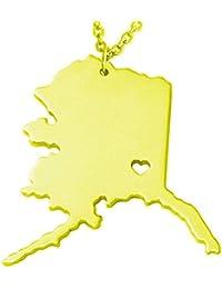 ゴールドトーンステンレススチールマップペンダントネックレス、We Loveアラスカ、AK
