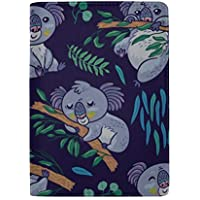 Little Cute Baby and Mom Koala Blocking Print Passport Holder Cover Case Travel Luggage Passport Wallet Card Holder Made with Leather for Men Women Kids Family
