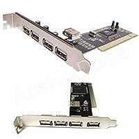 FidgetGear 新しいUSB 2.0 5ポート(4 + 1)PCIハブカード高速アダプター480MB、Windows用