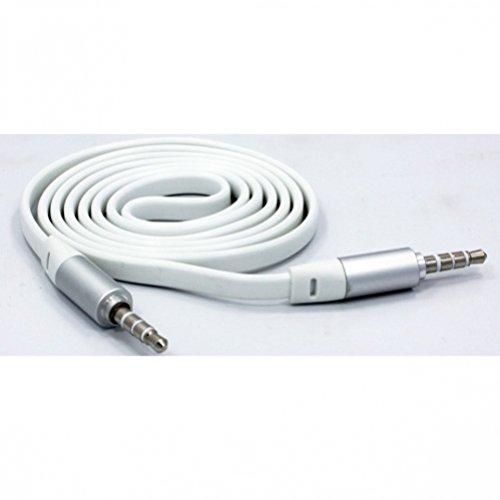 6ft cord Tangle Freeフラットケーブル車オーディオステレオAuxワイヤアダプタホワイトfor iPhone 66s、6、6s Plus、5s 5C 55G 4s(すべてのキャリアIncluding at&T、T - Mobile、Sprint、Verizon、ストレートTalk、ロック解除)