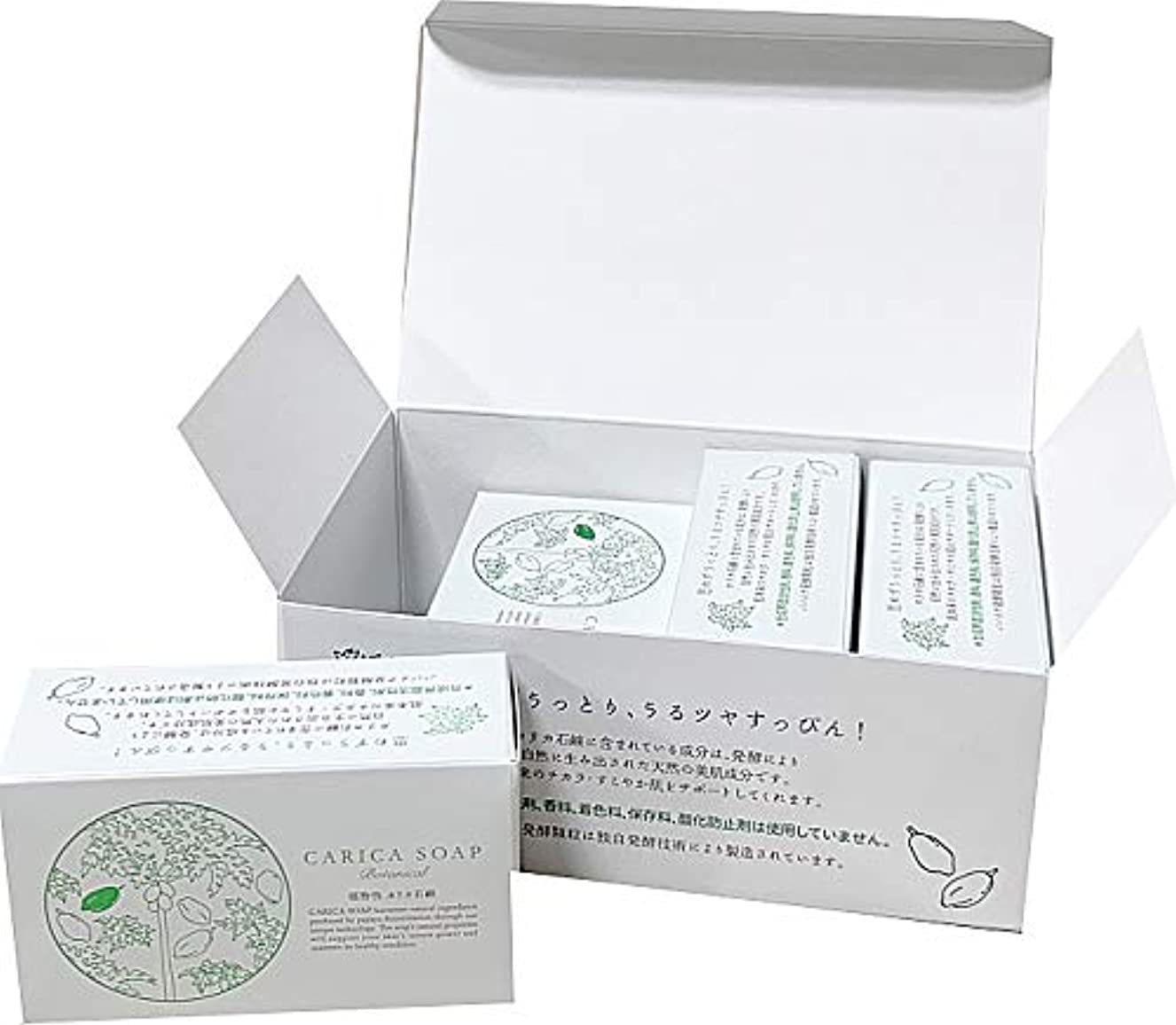 騒々しいゼリー免疫する植物性カリカ石鹸100g お得な4個セット(箱入)