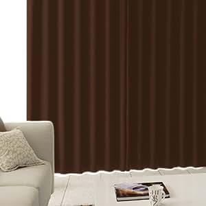 【防寒・高断熱 1級遮光カーテン】 「CALM」 完全遮光生地使用で高断熱、暖房効率アップ!遮音・防音効果で生活音を軽減     サイズ:(幅)100×(丈)200cm 2枚組 色:ブラウン