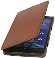 StilGut Book Type Genuine Leather Case Cover for Microsoft Lumia 950 XL / 950 XL Dual SIM Cognac Brown [並行輸入品]