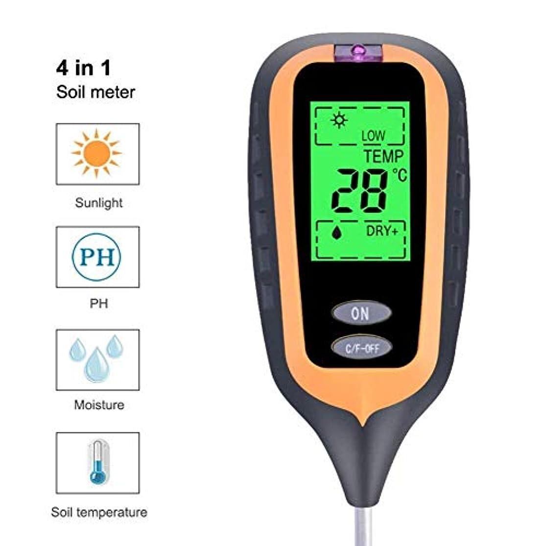 収入陰気声を出してポータブルPHメーター-4 in 1土壌テスター+光検出器+土壌酸性度計+ PHメーター+土壌水分-温度計 (色 : ブラック)