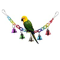 SALICO Colourful Ringer Bells Bridge Ladder Climbing Swing Pet Toy for Bird Parrot African Greys Macaw Budgies Parakeet Cockatiels Cockatoo Conure Lovebird Finch Cage Perch