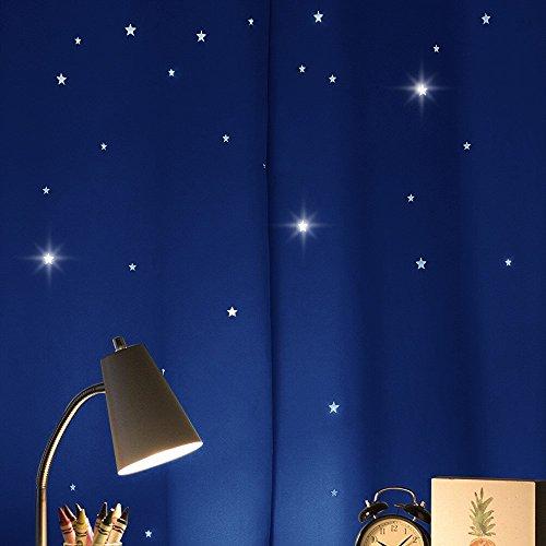 透かし彫り星柄 ローヤルブルー カーテン遮光 部屋飾り 2枚...