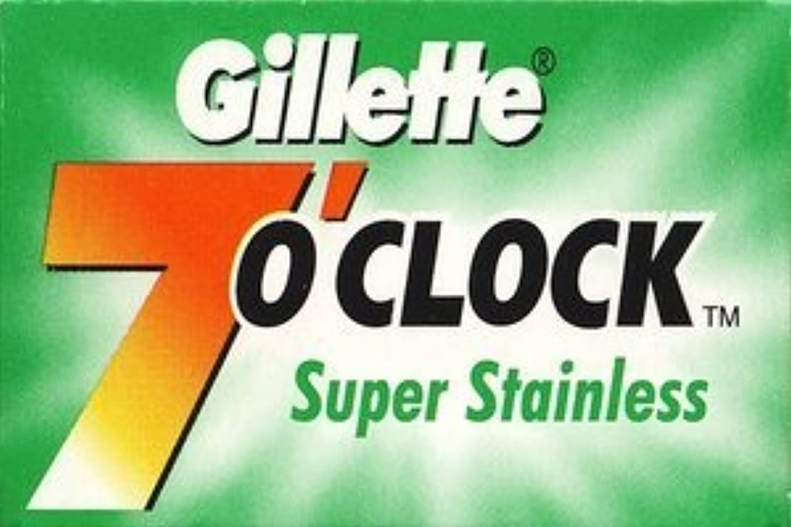 Gillette 7 0'Clock Super Stainless 両刃替刃 5枚入り(5枚入り1 個セット)【並行輸入品】
