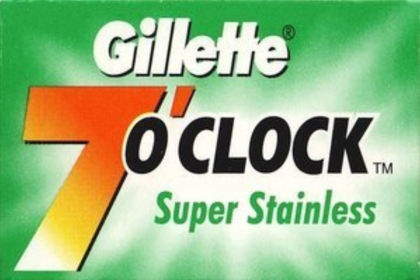 うなずく予防接種する地質学Gillette 7 0'Clock Super Stainless 両刃替刃 5枚入り(5枚入り1 個セット)【並行輸入品】