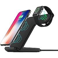 FDGAO携帯電話ワイヤレス充電器&アップルウォッチワイヤレス充電器2 in 1、ワイヤレス充電スタンド、Apple Watch/iPhone X / 8 Plus / 8/ Samsung Galaxy Note 8 / Note 5 / S9 / S9 Plus / S8 + / S8およびすべてのQI対応デバイスの充電。プラグは含まない