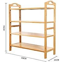 4ティアナチュラル竹木製シンプルシューズラック棚ホルダー収納オーガナイザー廊下のバスルームのリビングルーム(マルチサイズ)のための多機能シェルフ (サイズ さいず : 80 * 26 * 76CM)