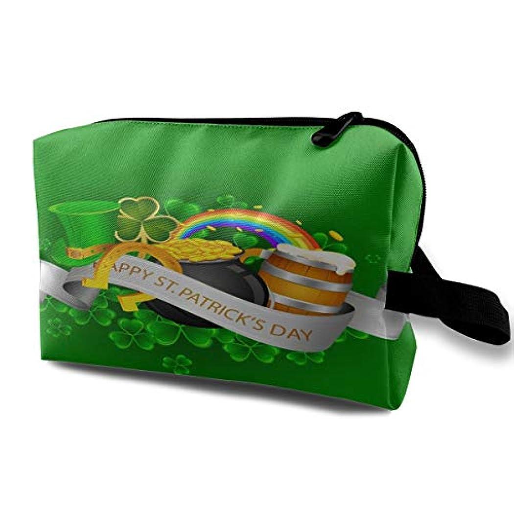 複数ドリンク唇Happy St. Patrick's Day In Green 収納ポーチ 化粧ポーチ 大容量 軽量 耐久性 ハンドル付持ち運び便利。入れ 自宅?出張?旅行?アウトドア撮影などに対応。メンズ レディース トラベルグッズ