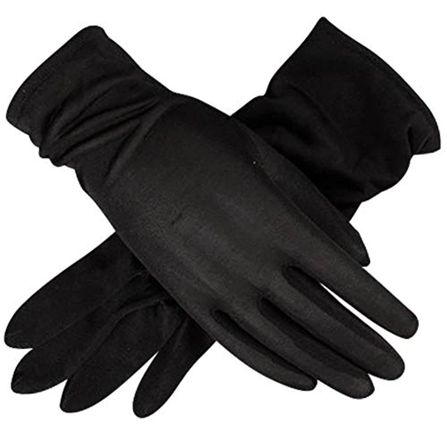 ヤギ笑いヒギンズ(panda store) シルク 手袋 レディース UVカット ハンドケア おやすみ 手荒れ 手湿疹 乾燥肌 保湿 おやすみ手袋 紫外線 ブラック