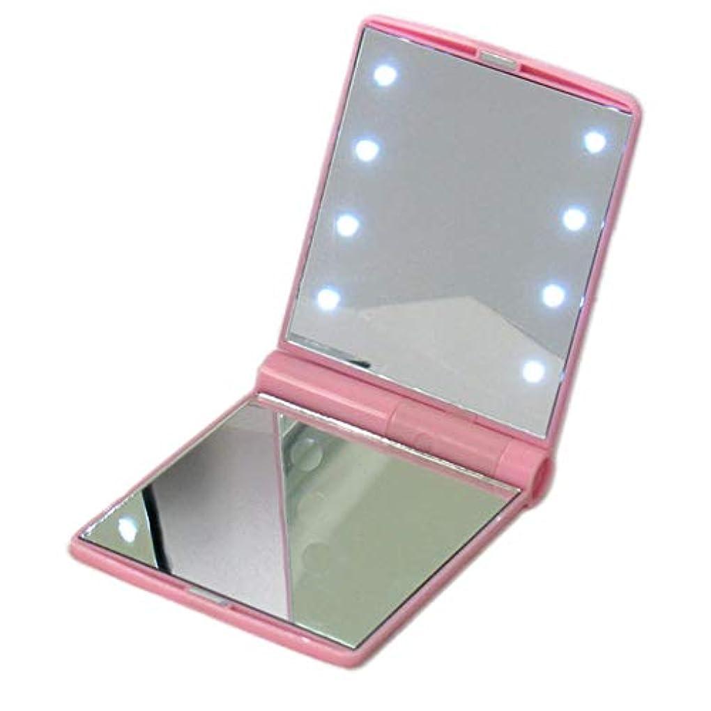 ホステル正統派関係するSnner 化粧鏡 LEDライト付き ミラー 手鏡 折り畳み式 メイクミラー ナイトライト ピンク
