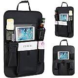 2 Pack PU Leather Premium Car seat Organizer Travel Accessories, Kick Mats Back Seat Protector Seat Back Protectors/Car Seat